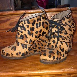 Leopard print wedge booties size 6.5-7